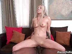 Stunning Madelyn Monroe is jumping on partner`s brown dong.