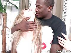 Lovely blonde Madelyn Monroe wraps her lips around black rod.