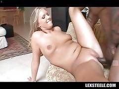 Black guy and his hot white girlfriend perform great sex scene.