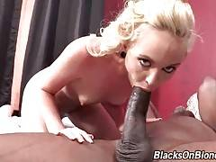 Muscled black stud thoroughly pounds naughty white chick.