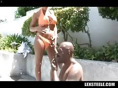 Curvaceous mature blonde is tempting well-known black stud Lex Steele.