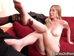 Tough black guy examines sexy white babe`s sexual skills.