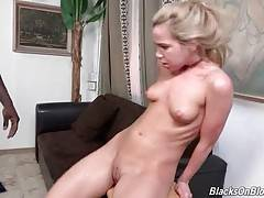 Petite white slutie gets her craving asshole stretched with black rod.