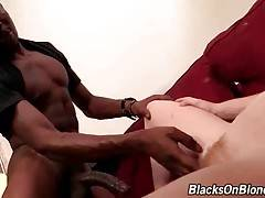 Naughty Tegan Riley deeply swallows black dude`s big shaft.