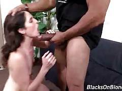 White slut licks off her anal juices from lover`s huge black dick.