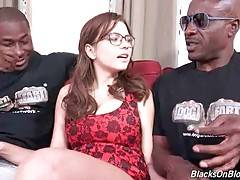 Sexy Marina Visconti gives black guys a lesson of Russian language.