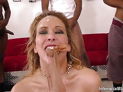 Cherie`s a true black cock slut, and what she`s willing to do to make her volunteers happy will make you nut all over yourself, wishing you were there! Wait until you see what Cherie and the fellahs do with her pantyhose! Or watch Cherie munch man ass in
