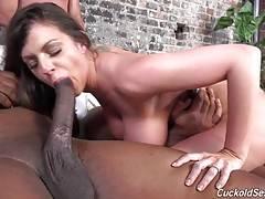 This fuckin slut really loves that black choad.